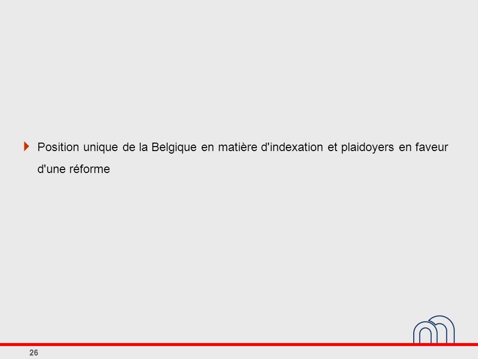 Position unique de la Belgique en matière d indexation et plaidoyers en faveur d une réforme