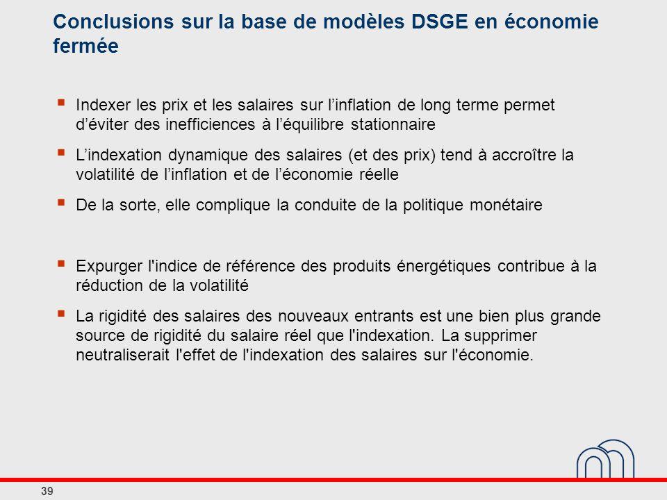 Conclusions sur la base de modèles DSGE en économie fermée