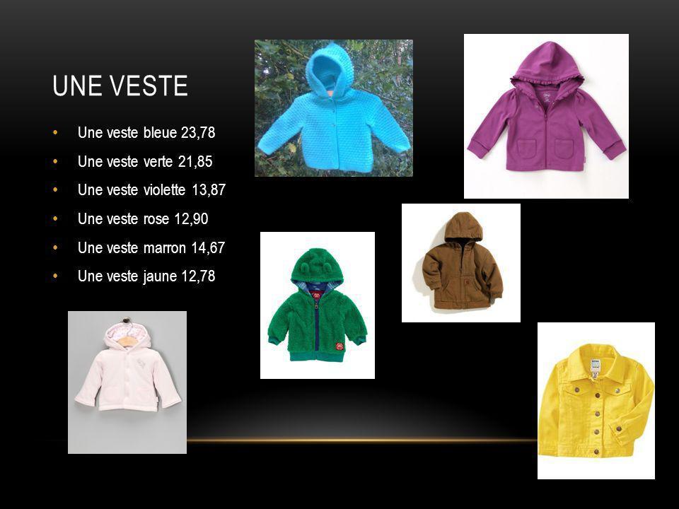 Une veste Une veste bleue 23,78 Une veste verte 21,85