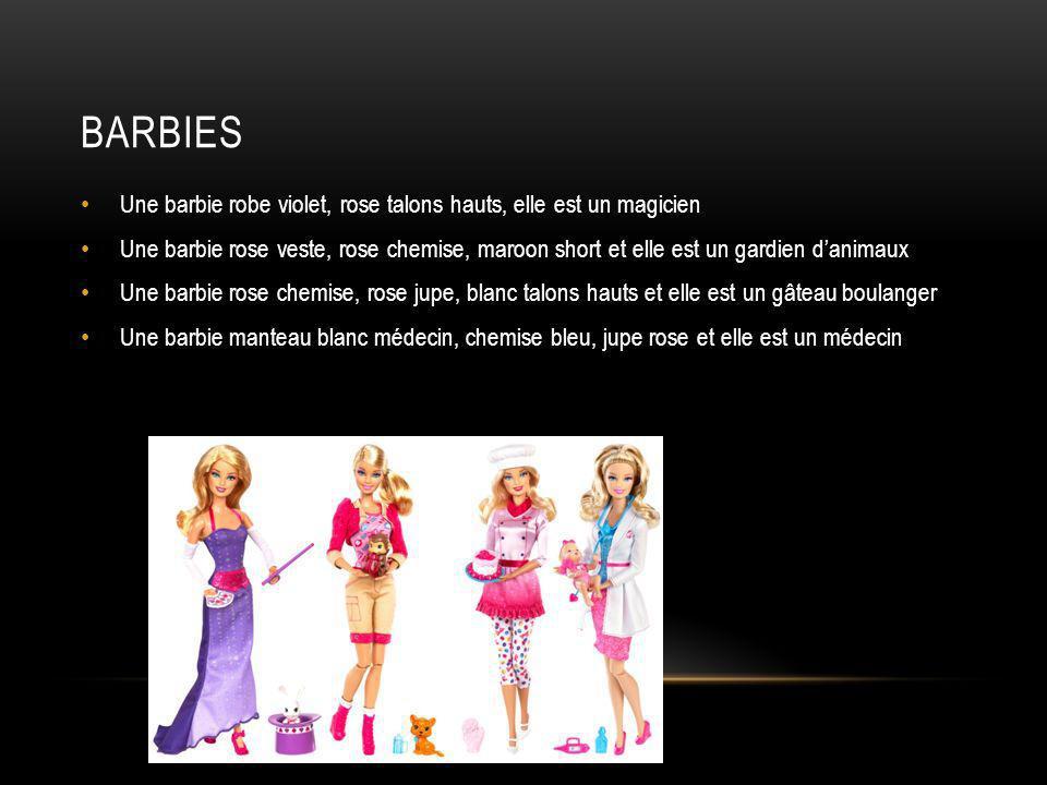 barbies Une barbie robe violet, rose talons hauts, elle est un magicien.