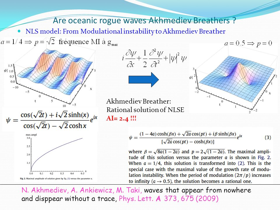 Are oceanic rogue waves Akhmediev Breathers