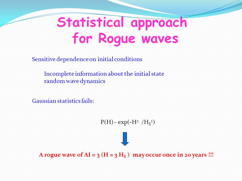 Statistical approach for Rogue waves