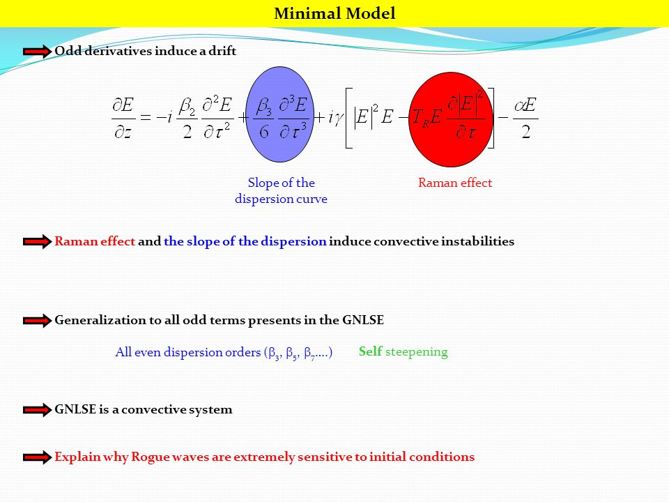 Minimal Model Odd derivatives induce a drift