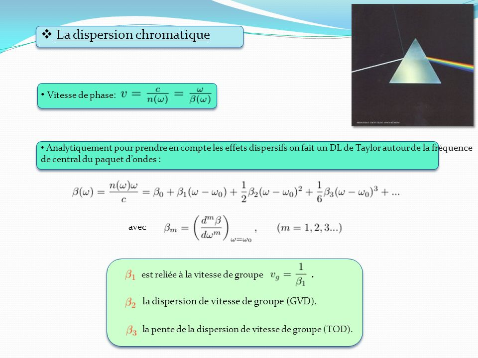 La dispersion chromatique