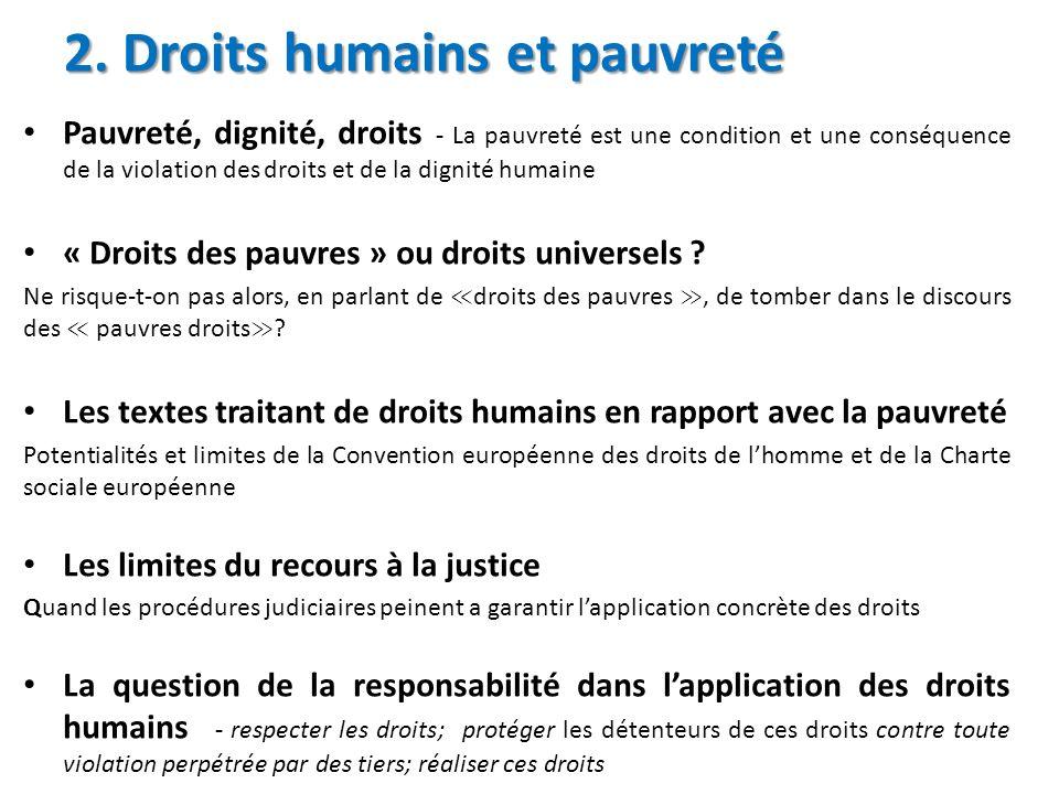 2. Droits humains et pauvreté