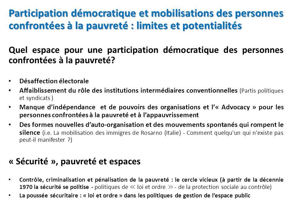 Participation démocratique et mobilisations des personnes confrontées à la pauvreté : limites et potentialités