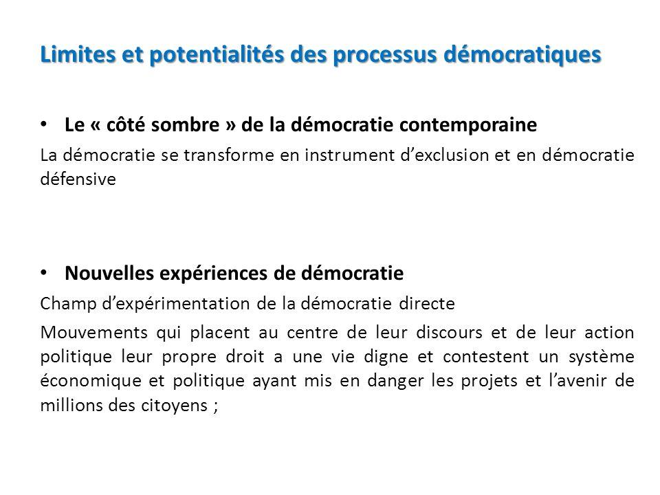 Limites et potentialités des processus démocratiques
