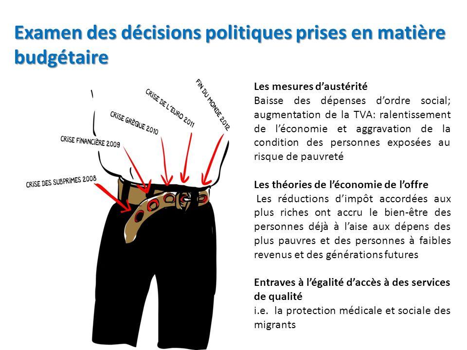 Examen des décisions politiques prises en matière budgétaire