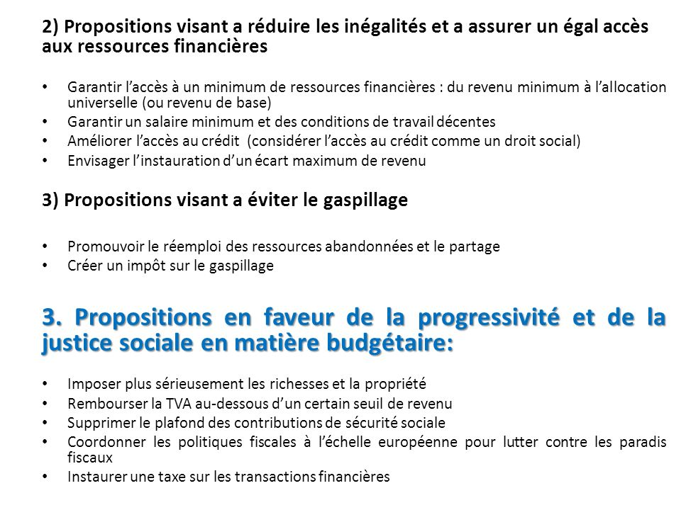 2) Propositions visant a réduire les inégalités et a assurer un égal accès aux ressources financières