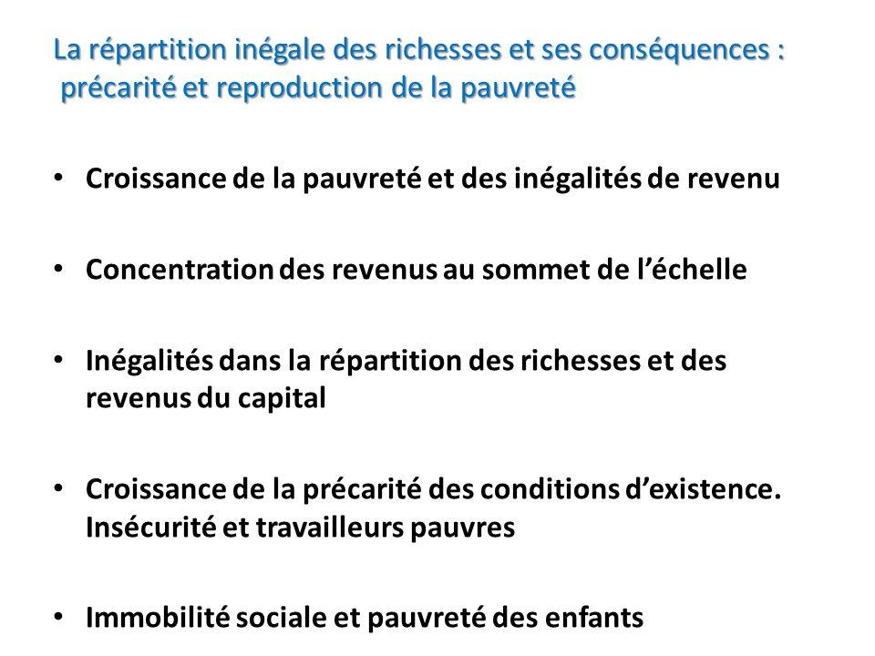 La répartition inégale des richesses et ses conséquences : précarité et reproduction de la pauvreté