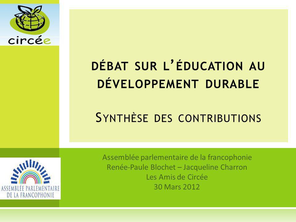 débat sur l'éducation au développement durable Synthèse des contributions