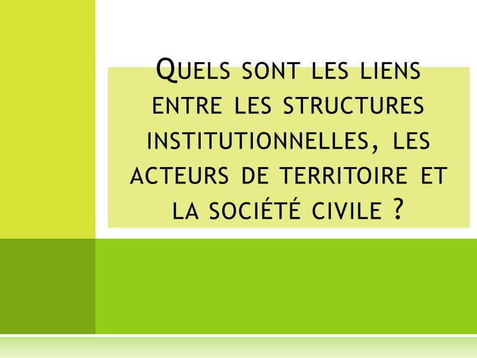 Quels sont les liens entre les structures institutionnelles, les acteurs de territoire et la société civile