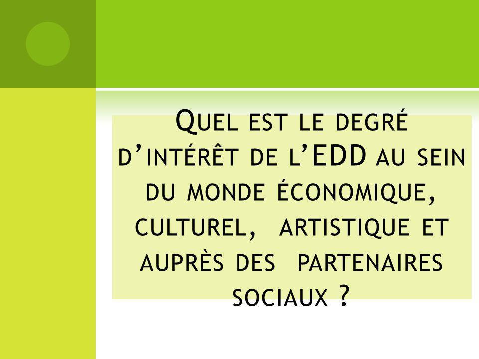 Quel est le degré d'intérêt de l'EDD au sein du monde économique, culturel, artistique et auprès des partenaires sociaux