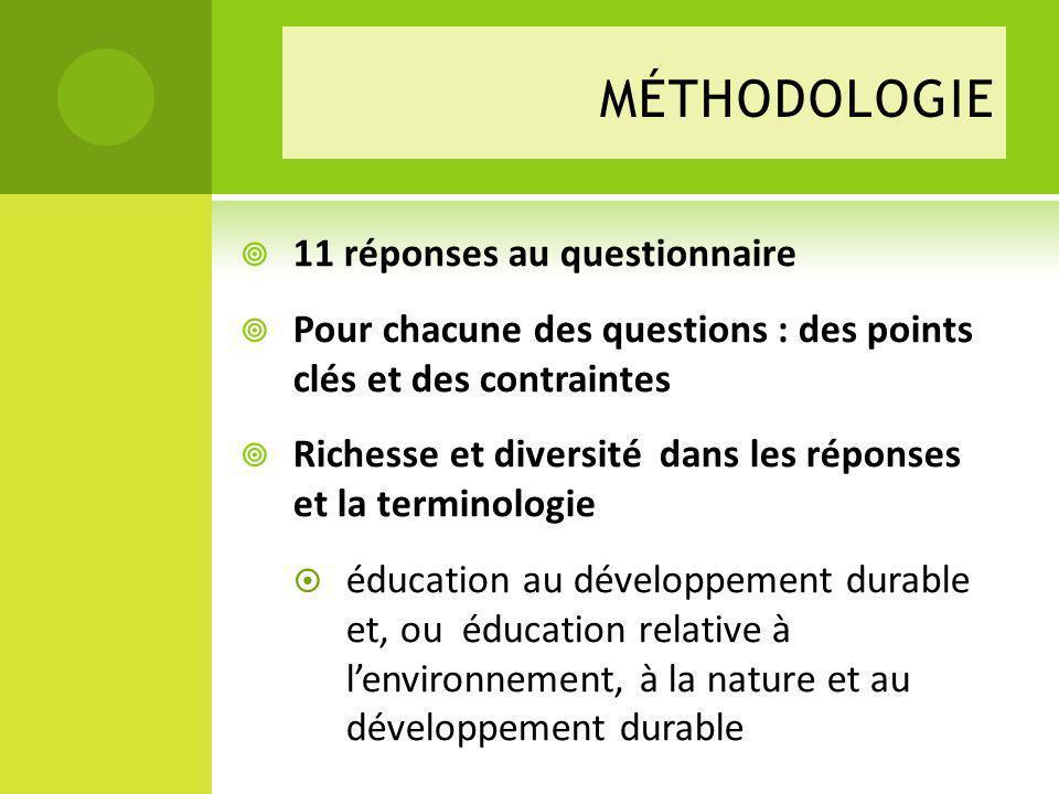 méthodologie 11 réponses au questionnaire
