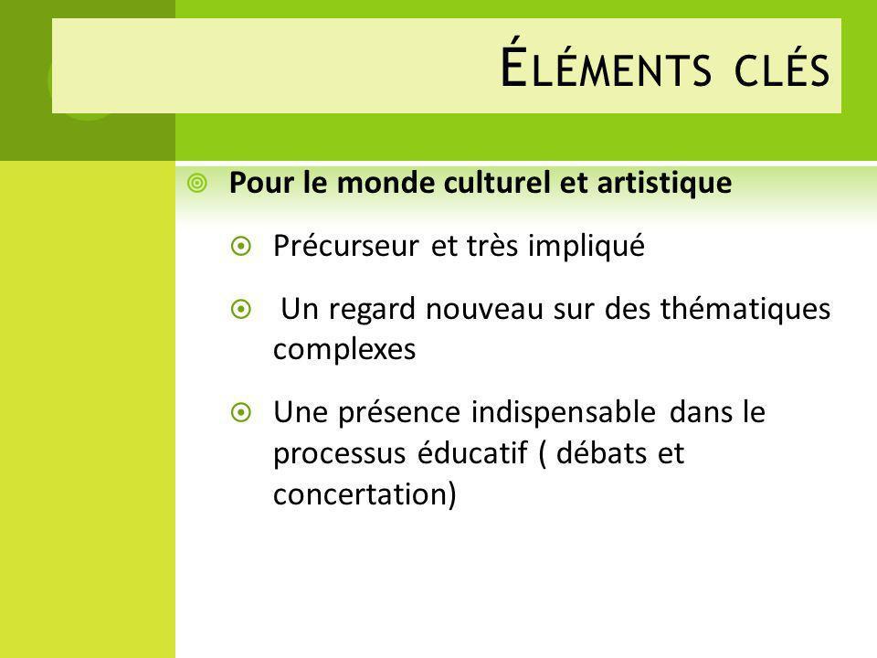 Éléments clés Pour le monde culturel et artistique