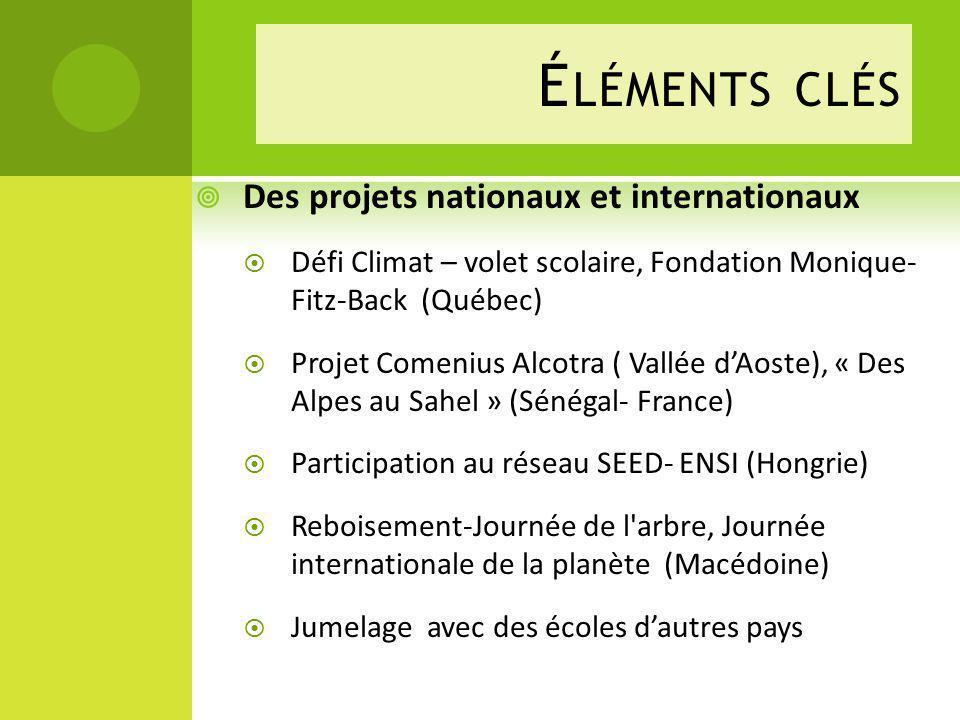 Éléments clés Des projets nationaux et internationaux