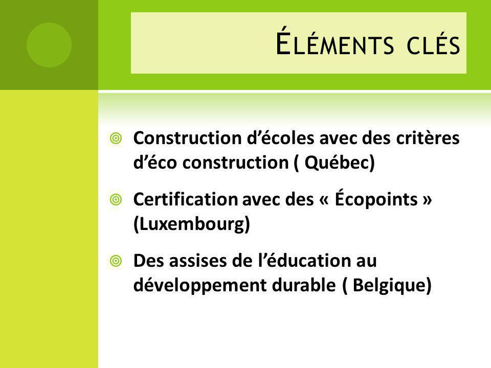 Éléments clés Construction d'écoles avec des critères d'éco construction ( Québec) Certification avec des « Écopoints » (Luxembourg)
