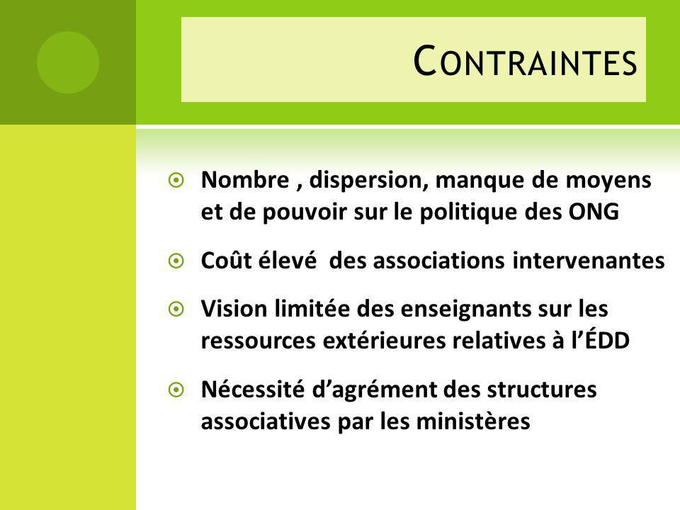 Contraintes Nombre , dispersion, manque de moyens et de pouvoir sur le politique des ONG. Coût élevé des associations intervenantes.