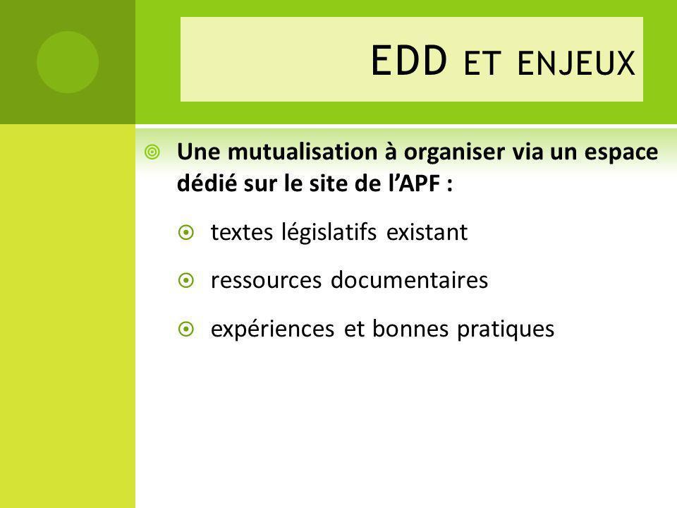EDD et enjeux Une mutualisation à organiser via un espace dédié sur le site de l'APF : textes législatifs existant.