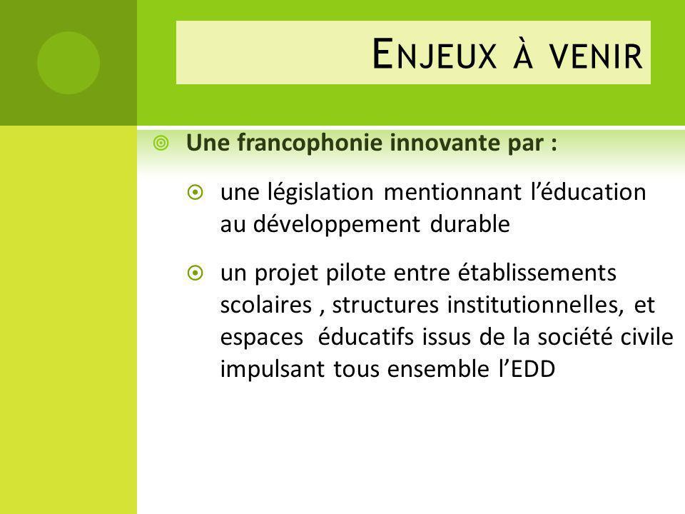 Enjeux à venir Une francophonie innovante par :