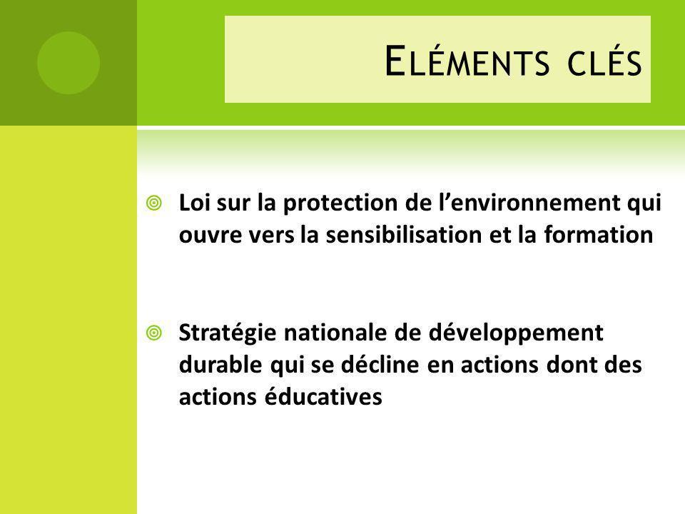 Eléments clés Loi sur la protection de l'environnement qui ouvre vers la sensibilisation et la formation.