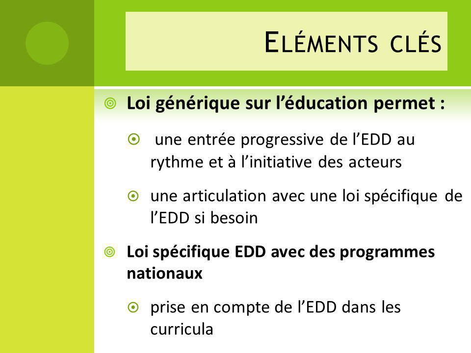 Eléments clés Loi générique sur l'éducation permet :