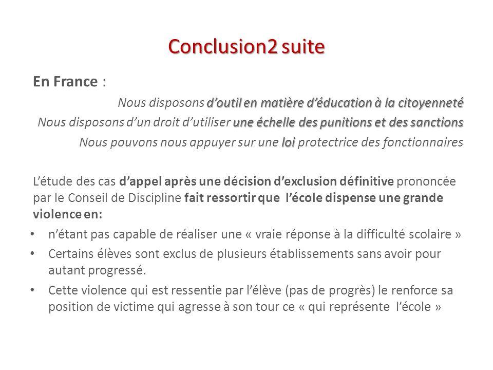 Conclusion2 suite En France :