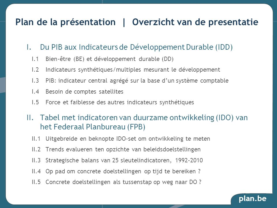 Plan de la présentation | Overzicht van de presentatie
