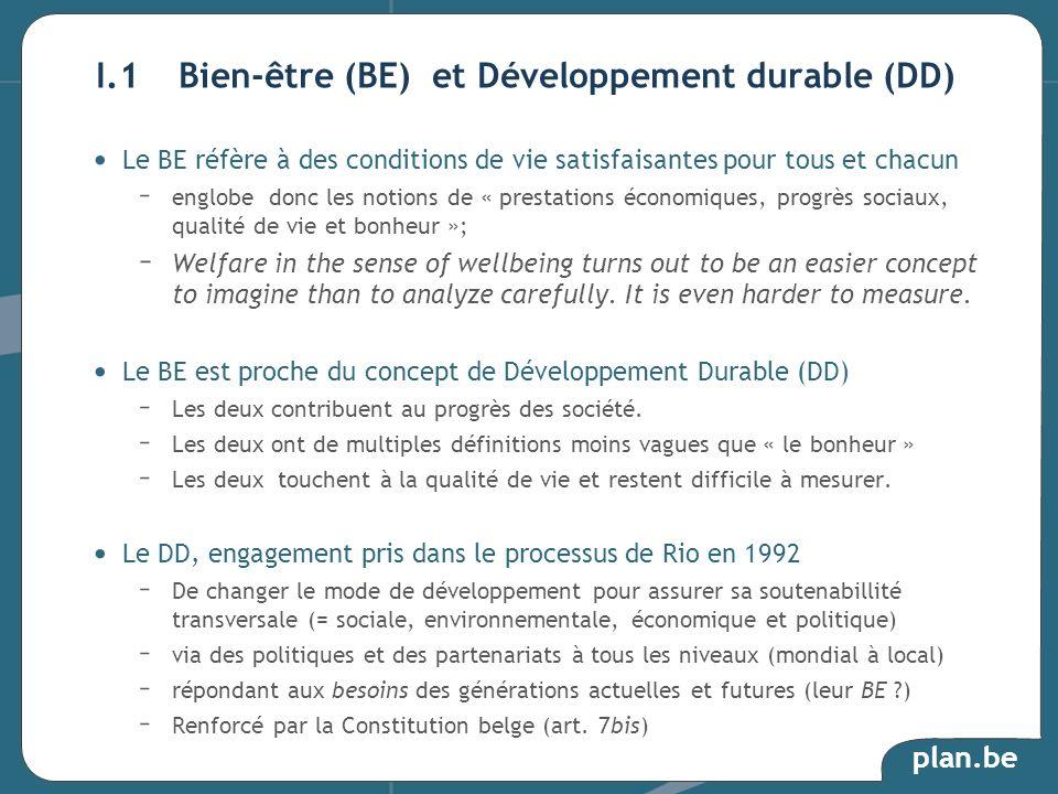 I.1 Bien-être (BE) et Développement durable (DD)