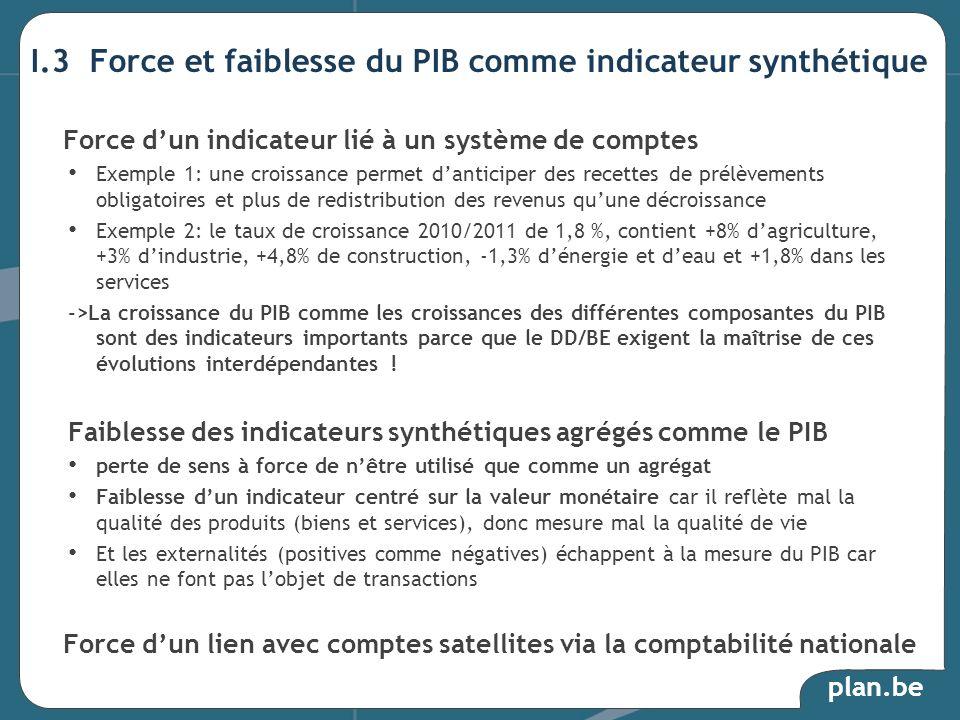 I.3 Force et faiblesse du PIB comme indicateur synthétique