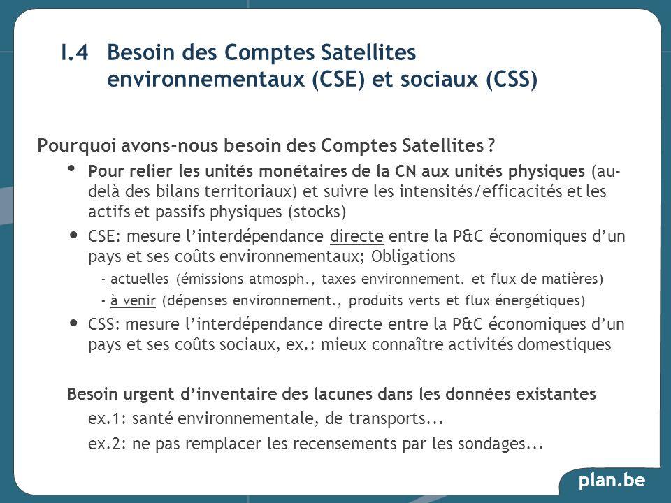 I.4 Besoin des Comptes Satellites environnementaux (CSE) et sociaux (CSS)