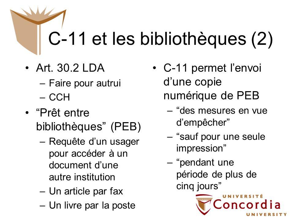 C-11 et les bibliothèques (2)