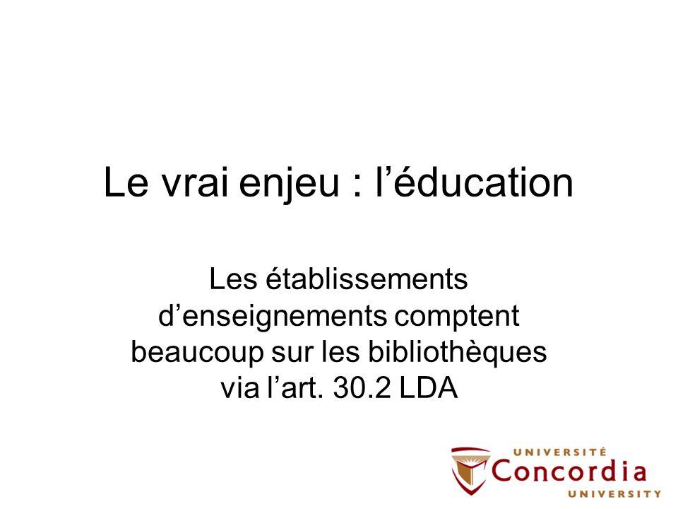 Le vrai enjeu : l'éducation