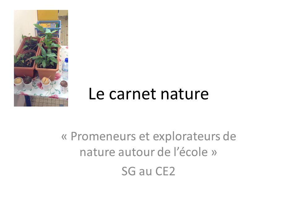 « Promeneurs et explorateurs de nature autour de l'école » SG au CE2