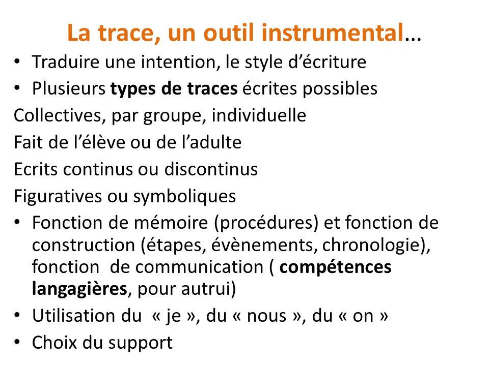 La trace, un outil instrumental…
