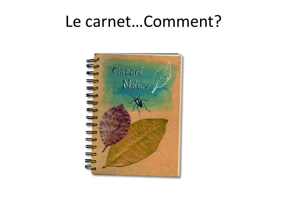 Le carnet…Comment
