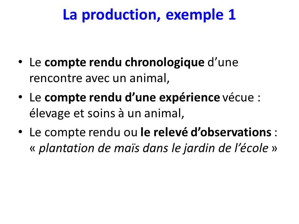 La production, exemple 1 Le compte rendu chronologique d'une rencontre avec un animal,