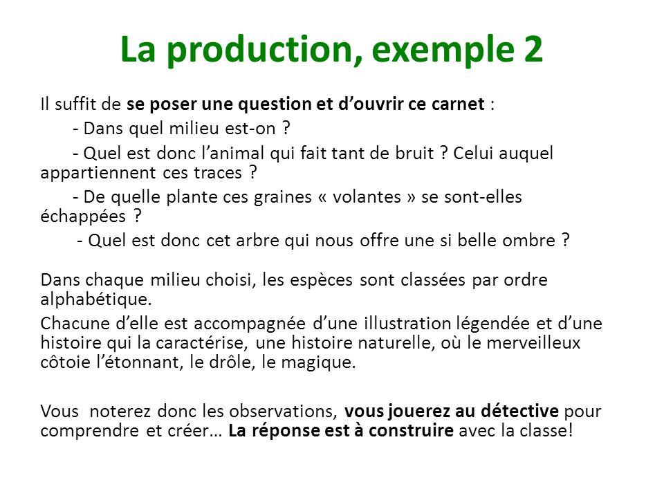 La production, exemple 2 Il suffit de se poser une question et d'ouvrir ce carnet : - Dans quel milieu est-on
