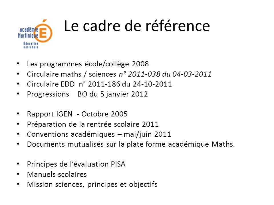 Le cadre de référence Les programmes école/collège 2008