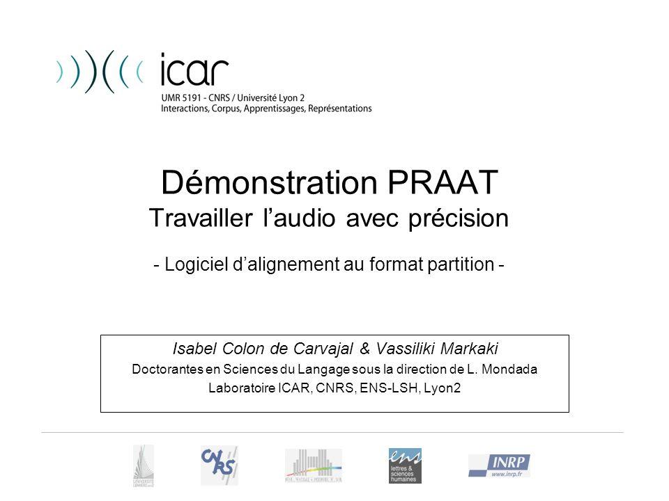 Démonstration PRAAT Travailler l'audio avec précision - Logiciel d'alignement au format partition -