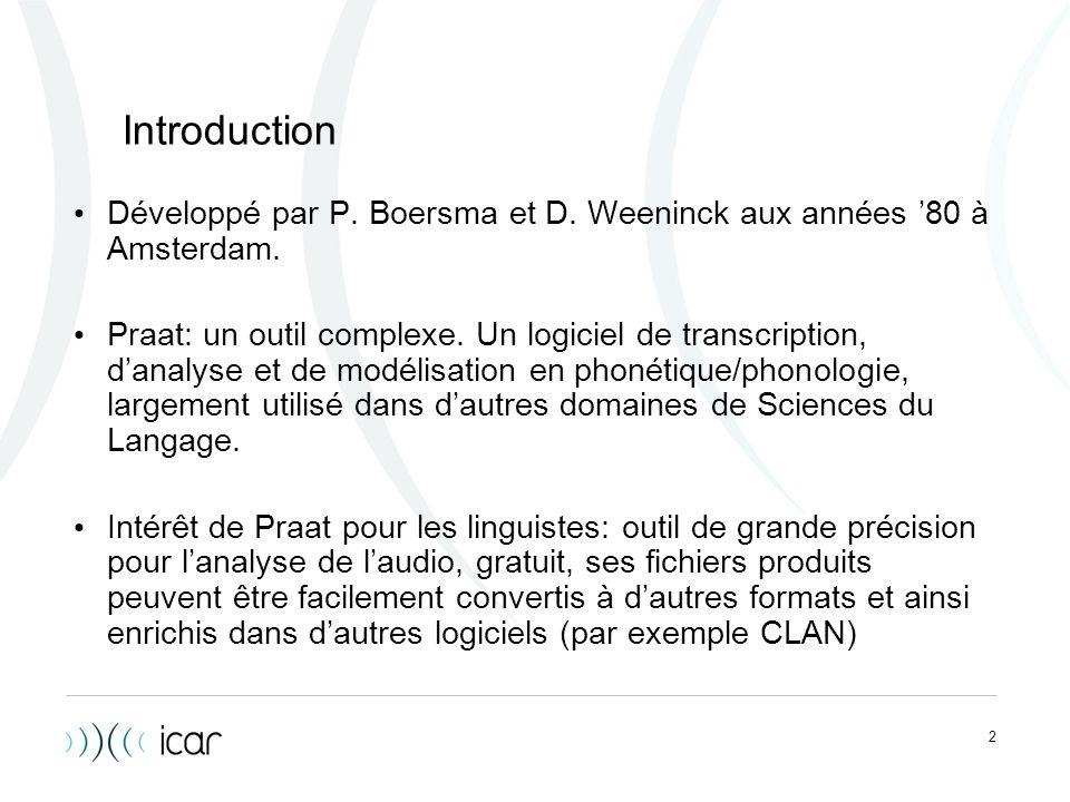Introduction Développé par P. Boersma et D. Weeninck aux années '80 à Amsterdam.