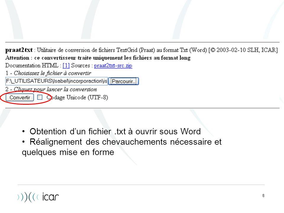 Obtention d'un fichier .txt à ouvrir sous Word