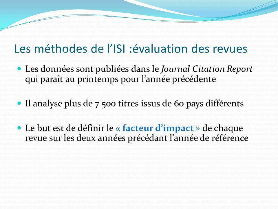 Les méthodes de l'ISI :évaluation des revues