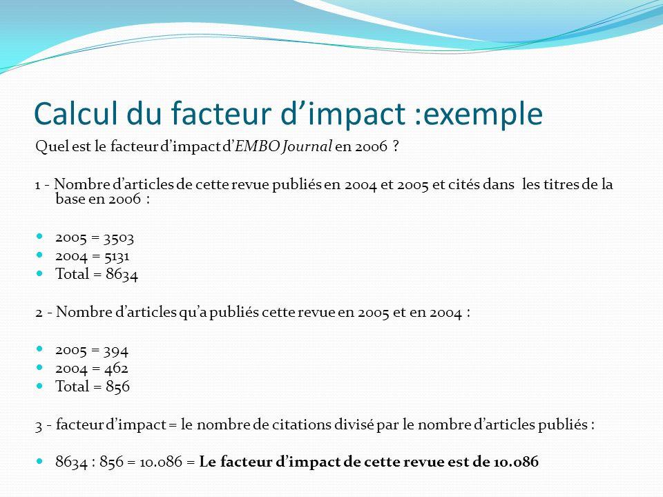 Calcul du facteur d'impact :exemple
