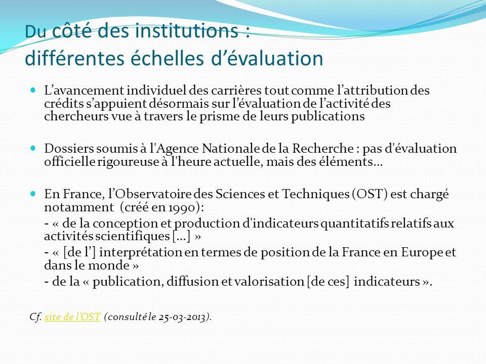 Du côté des institutions : différentes échelles d'évaluation