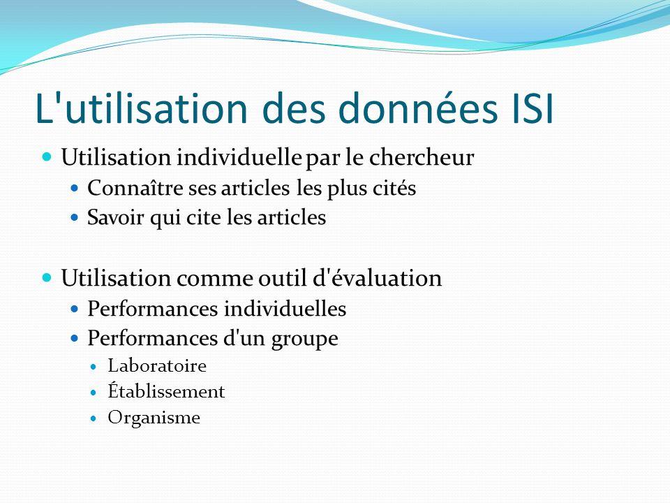 L utilisation des données ISI