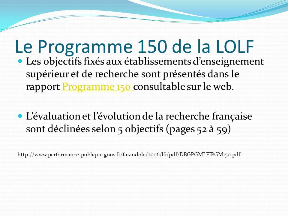 Le Programme 150 de la LOLF