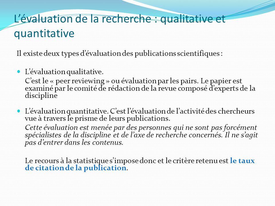 L'évaluation de la recherche : qualitative et quantitative