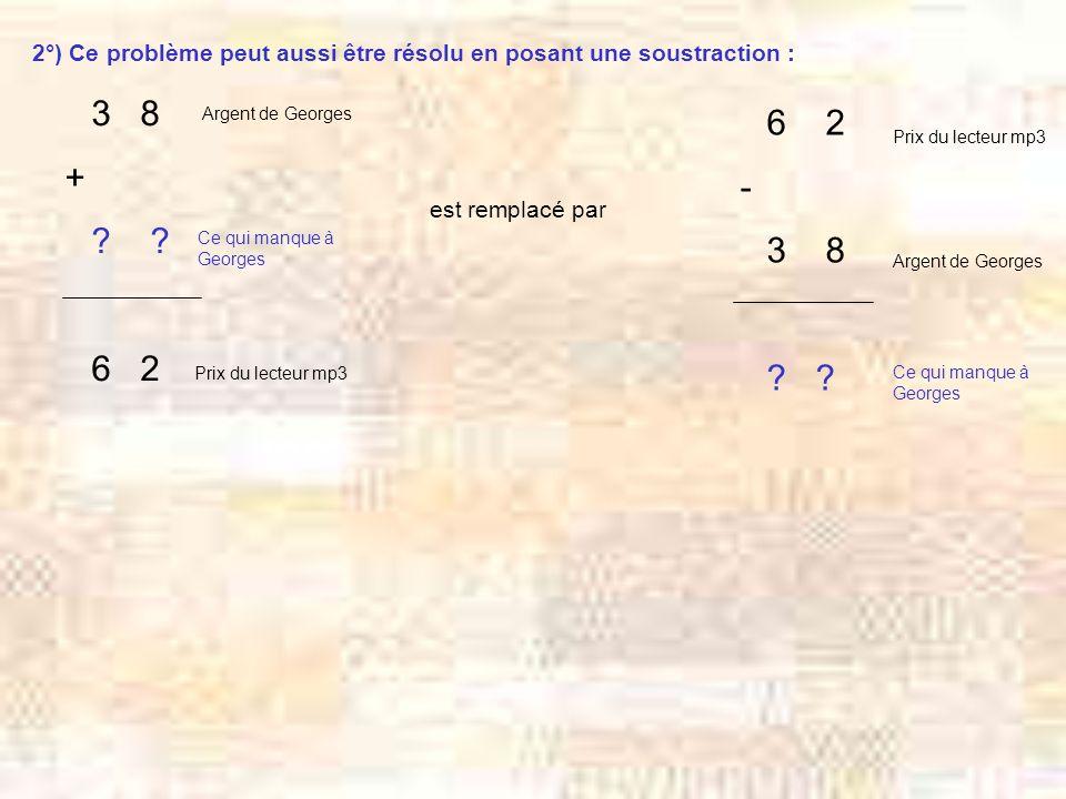 2°) Ce problème peut aussi être résolu en posant une soustraction :