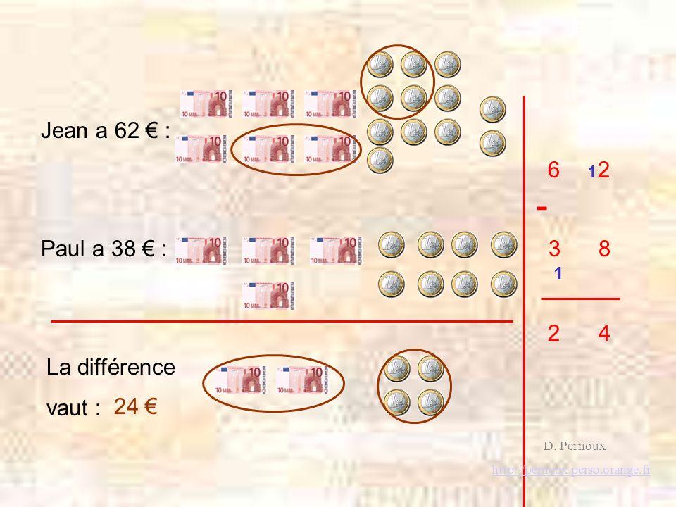 - 6 2 3 8 Paul a 38 € : Jean a 62 € : 2 4 La différence vaut : 24 € 1